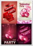 Valentine party disco poster vectors