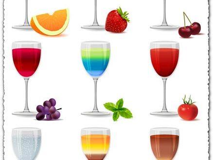 Various flavors of juice vectors
