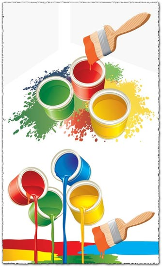 Vector buckets with colorful paint