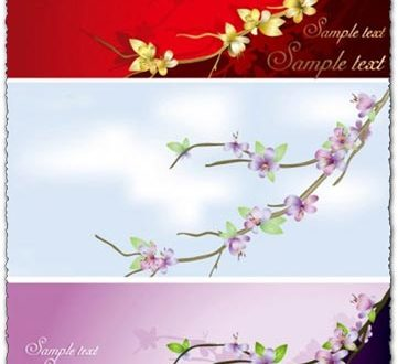 Vector flower banner collection
