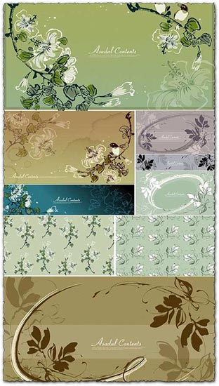 Vector flower banners collection