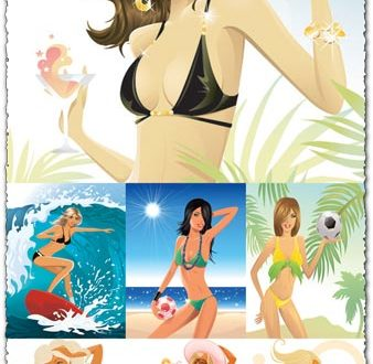 Summer girls vectors