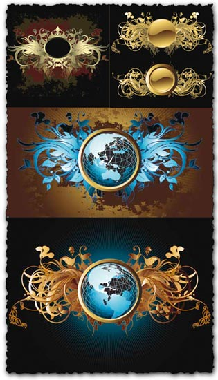 Vintage labels, crowns and globes vectors