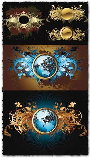 Vintage labels, crowns and globes vectors