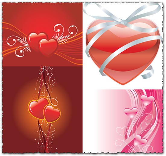 Heart shapes in abstract bacgkround vector