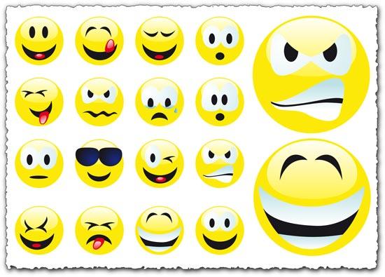 Yahoo emoticons vector set