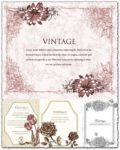 Vintage invitations with floral motifs vectors