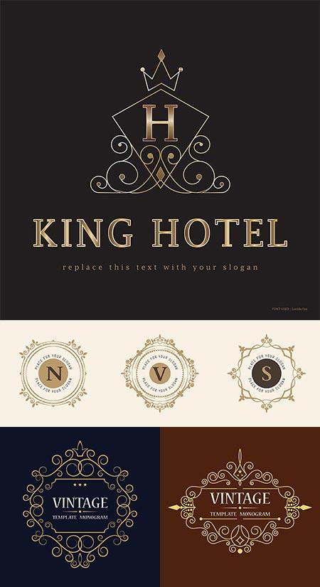 Vintage logo monograms vectors