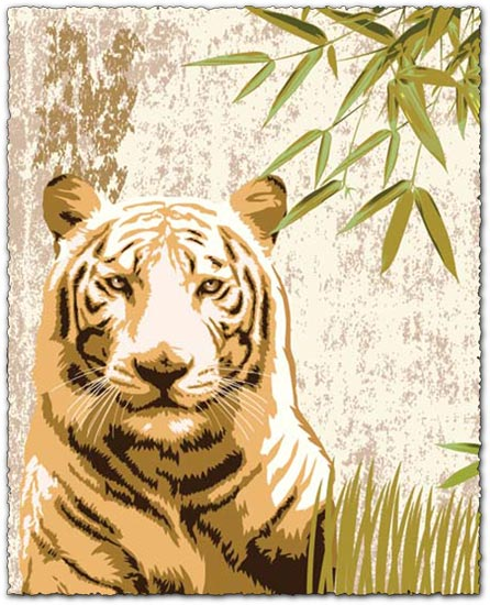 Vintage tiger poster with vector elements