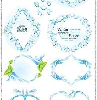 Water splashes frames vector