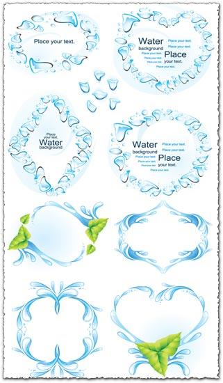 Water splashes frames vector