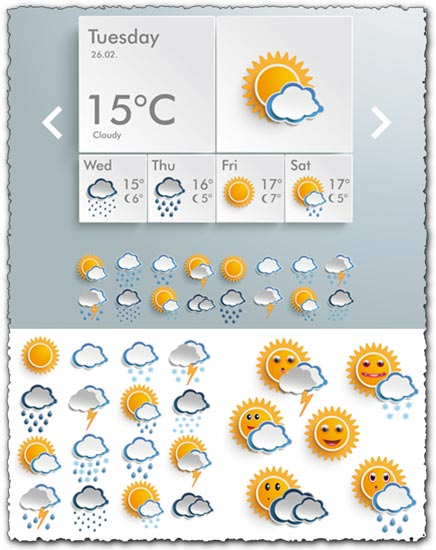 Weather icons for smartphone vectors