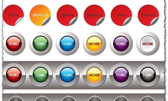 Web buttons vector elements