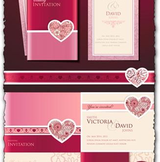 Wedding invitation cards vectors