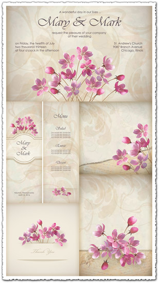wedding invitations and cards vectors