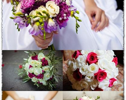 White and red roses bouquet wedding images