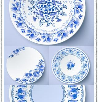 White plates with russian ornament vectors