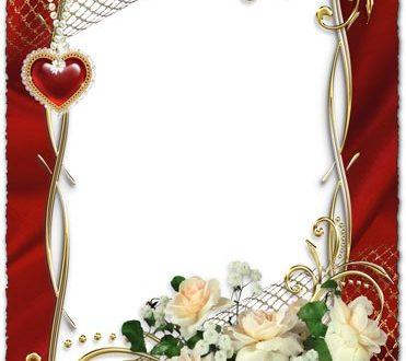 White roses on wedding photo frame