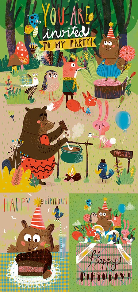 Wild animals party vector banners