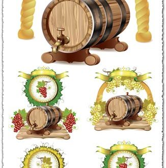 Wine barrels with white and purple grapes vectors