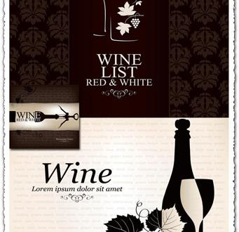 Wine bottle vector restaurant banners