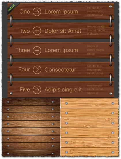 Wooden list board vectors