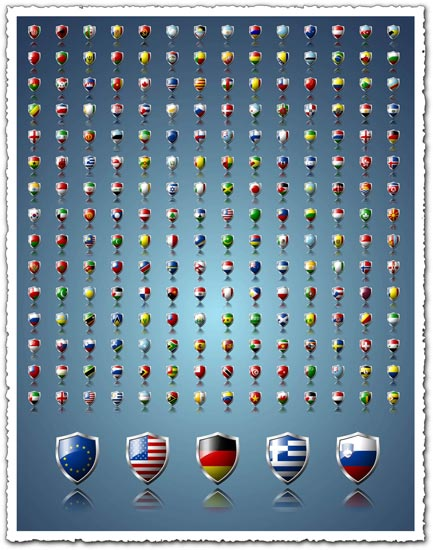 World flags in shield format