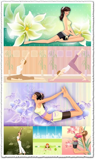 Yoga girls relaxing vectors