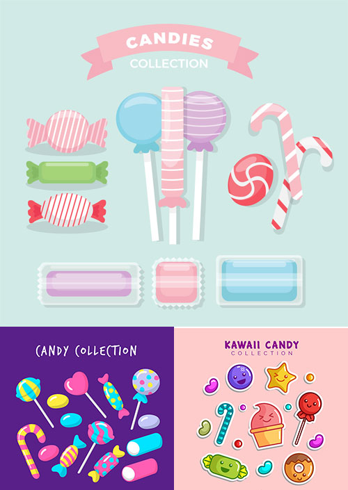 Candies and sweethearts vectors