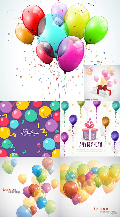 Happy birthday balloons vectors and backgrounds