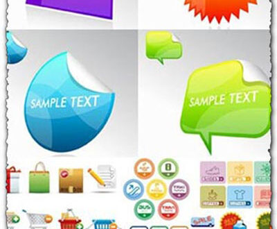 Advertising and shopping stickers vectors