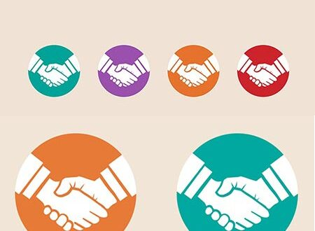 Business handshake vector flat design
