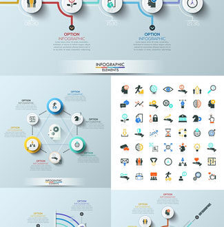 Business workflow diagrams vector infographics