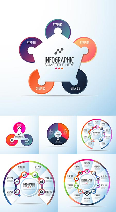 Circular diagrams and infographics vector