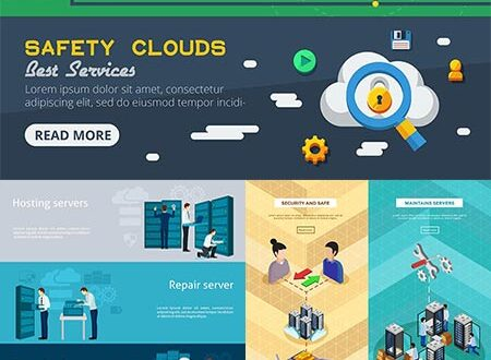 Cloud diagnostics and support vector banners
