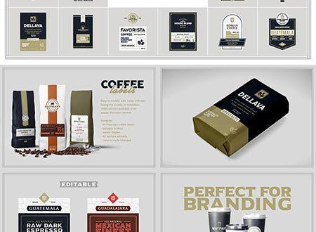 Coffee labels vector mockups