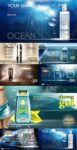 Cosmetic product posters vector mockup