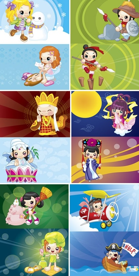 Vector cartoon characters