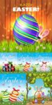 Friendly bunnies and painted Easter eggs vectors
