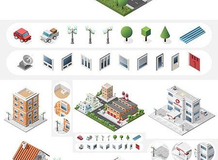 Isometric big buildings vector city