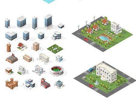 Miniature isometric city vector elements