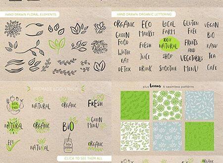 Organic bio labels vector patterns
