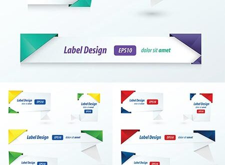 Origami advertising vector banners