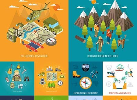 Specific touristic activities vector banners