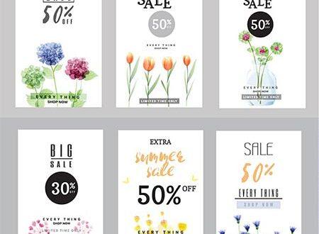 Spring big sales vertical vector banners