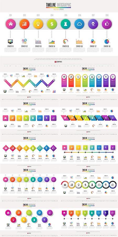 Timeline slides vector infographics