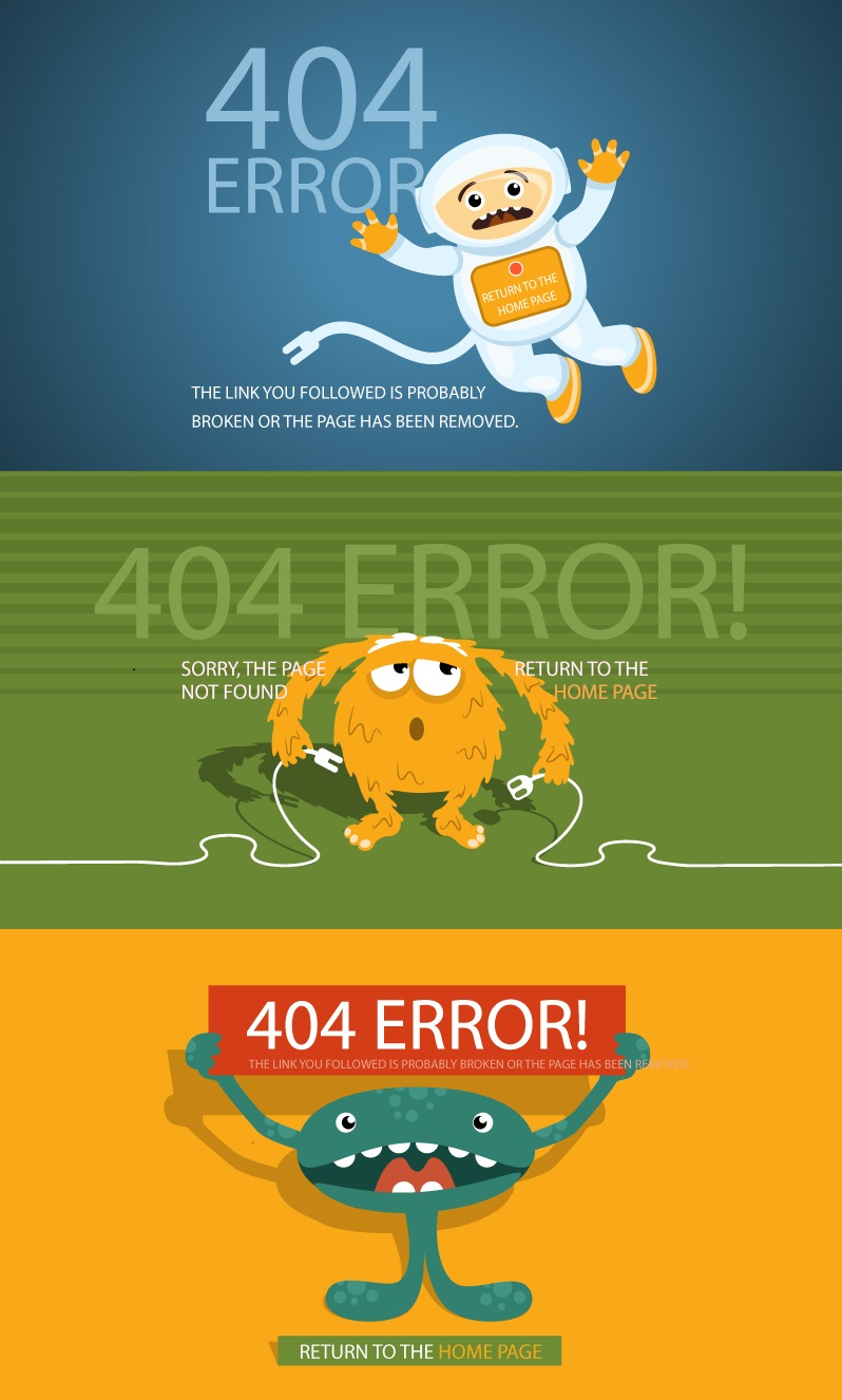 Creative 404 page vector templates