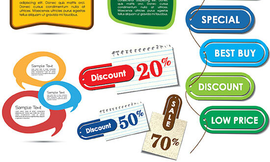 Colored vector labels on paper