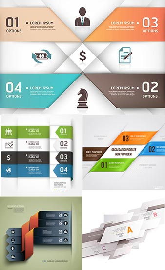 Origami business vector banners
