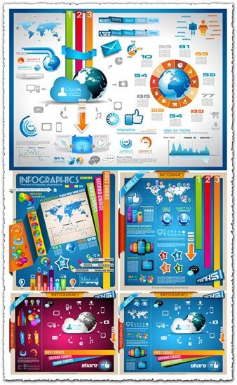 Colorful infographic vector labels and tags